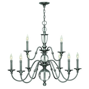 Eleanor Polished Antique Nickel Nine Light Chandelier
