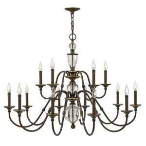 Eleanor Light Oiled Bronze 15-Light Chandelier