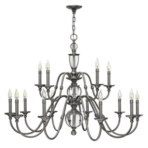 Eleanor Polished Antique Nickel 15 Light Chandelier