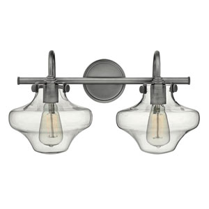Congress Antique Nickel 20-Inch Two-Light Bath Fixture with Hand Blown Clear Glass