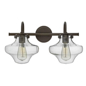 Congress Oil Rubbed Bronze 20-Inch Two Light Bath Fixture with Hand Blown Clear Glass