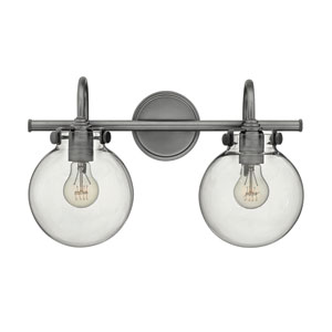 Congress Antique Nickel 11.5-Inch Two-Light Bath Fixture