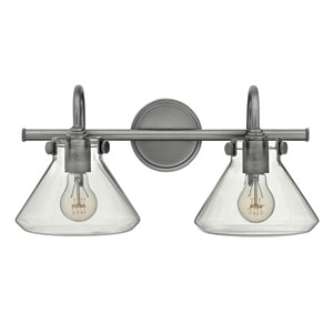 Congress Antique Nickel 9-Inch Two-Light Bath Fixture
