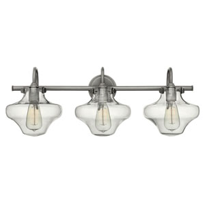 Congress Antique Nickel 30-Inch Three Light Bath Fixture with Hand Blown Clear Glass
