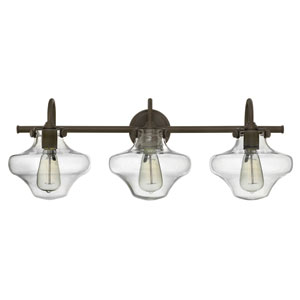 Congress Oil Rubbed Bronze 30-Inch Three-Light Bath Fixture with Hand Blown Clear Glass