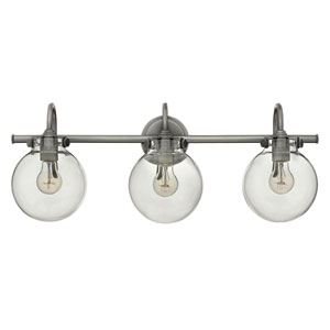 Congress Antique Nickel 29.5-Inch Three Light Bath Fixture with Clear Globe Glass