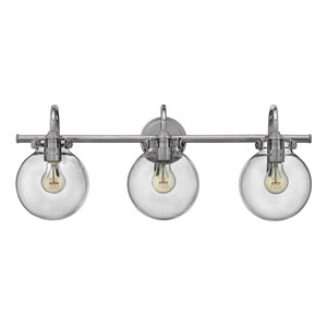 Congress Chrome 29.5-Inch Three Light Bath Fixture with Clear Globe Glass