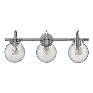Congress Chrome 29.5-Inch Three Light Bath Fixture with Clear Globe Glass