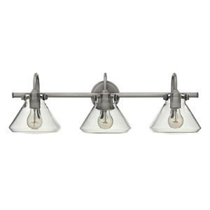 Congress Antique Nickel 29.5-Inch Three Light Bath Fixture with Clear Pyramid Glass