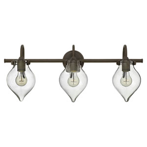 Congress Oil Rubbed Bronze 29.5-Inch Three Light Bath Fixture with Hand Blown Clear Glass