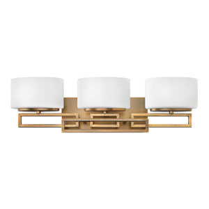 Lanza Brushed Bronze Three-Light Bath Fixture