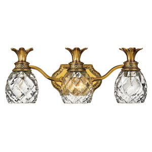 Plantation Burnished Brass Three-Light Bath Fixture