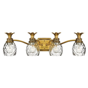 Plantation Burnished Brass Four-Light Bath Fixture