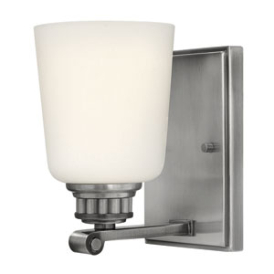 Annette Polished Antique Nickel One-Light Bath Sconce