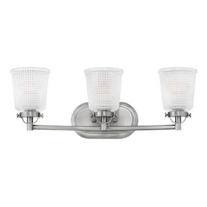 Bennett Polished Antique Nickel 24-Inch Three-Light Bath Light
