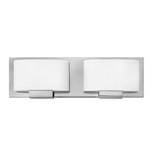 Mila Chrome 16-Inch Two-Light Bath Light