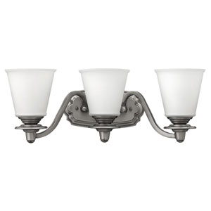 Plymouth Polished Antique Nickel Three-Light Bath Sconce