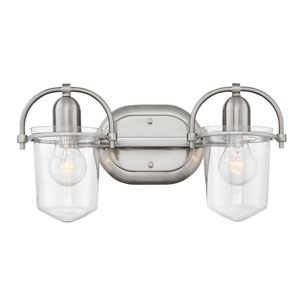 Clancy Brushed Nickel with Clear Two-Light Bath Light