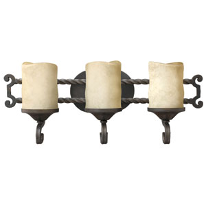 Casa Olde Black Three-Light Bath Fixture