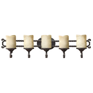 Casa Olde Black Five-Light Bath Fixture