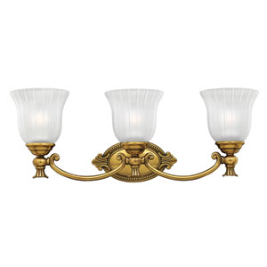 Francoise Burnished Brass Three-Light Bath Fixture