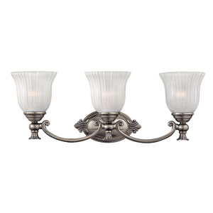 Francoise Nickel Three-Light Bath Fixture