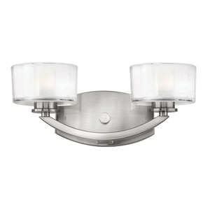 Meridian Brushed Nickel Two-Light Bath Fixture
