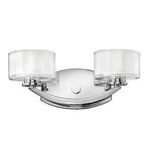 Meridian Chrome Two-Light Bath Fixture