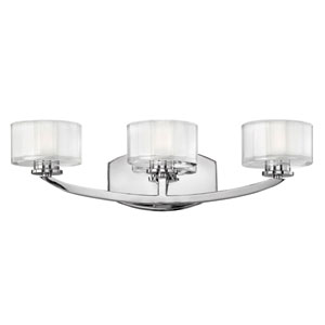 Meridian Chrome Three-Light Bath Fixture