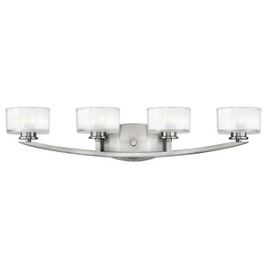 Meridian Brushed Nickel Four-Light LED Bath Sconce