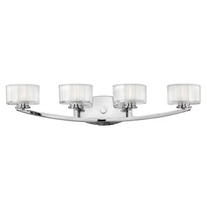 Meridian Chrome Four-Light LED Bath Sconce