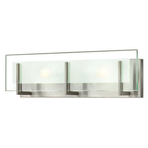 Latitude Brushed Nickel Two Light Bath Fixture