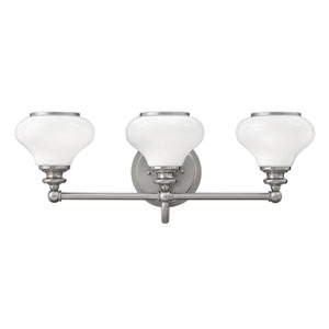 Ainsley Brushed Nickel Three-Light Bath Sconce
