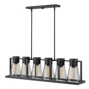 Refinery Black Linear Pendant with Smoked Glass
