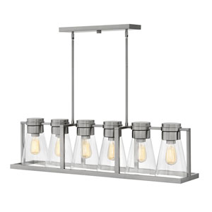 Refinery Brushed Nickel with Clear Six-Light Stem Hung Linear Pendant