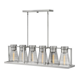 Refinery Brushed Nickel with Smoked Six-Light Stem Hung Linear Pendant