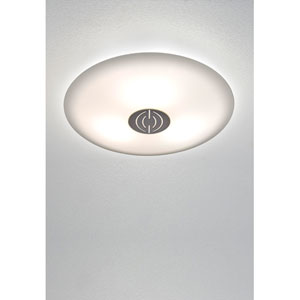 Opalika Medium Satin Nickel Flush Mount Ceiling Fixture w/ Satin White Glass