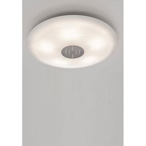 Opalika Large Satin Nickel Flush Mount Ceiling Fixture w/ Satin White Glass