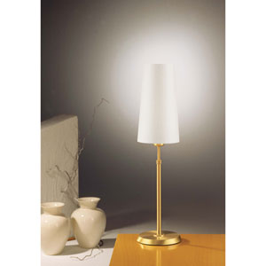 Brushed Brass One-Light Table Lamp with Narrow Satin White Shade