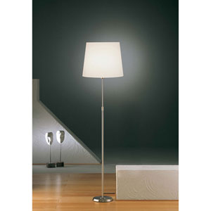 Satin Nickel One-Light Floor Lamp with Regular Satin White Shade