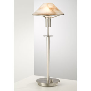 Lighting For the Aging Eye Satin Nickel Table Lamp w/ Alabaster White Glass