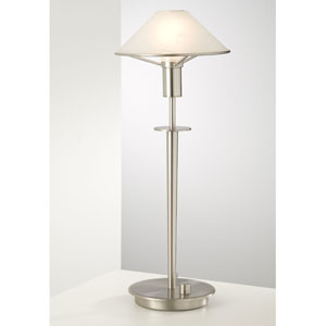 Lighting For the Aging Eye Satin Nickel Table Lamp w/ Alabaster Brown Glass