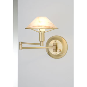 Lighting For the Aging Eye Brushed Brass Swing Arm Sconce w/ Alabaster Brown Glass