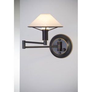 Lighting For the Aging Eye Hand Brushed Old Bronze Swing Arm Sconce w/ Satin White Glass