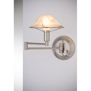 Lighting For the Aging Eye Satin Nickel Swing Arm Sconce w/ Alabaster Brown Glass