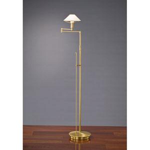 Lighting For the Aging Eye Antique Brass Swing Arm Floor Lamp w/ Satin White Glass