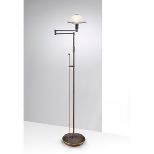 Lighting For the Aging Eye Hand Brushed Old Bronze Swing Arm Floor Lamp w/ Satin White Glass