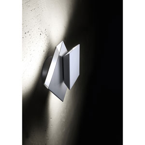 Cubic Polished Aluminum LED Two-Light Wall Sconce
