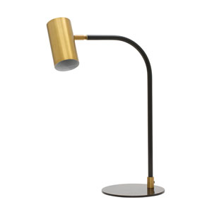 Cavendish Weathered Brass and Black 15.5-Inch LED Desk Lamp