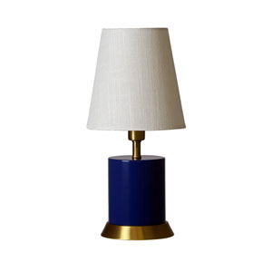 Geo Navy Blue with Weathered Brass Accents One-Light Cylinder Accent Lamp